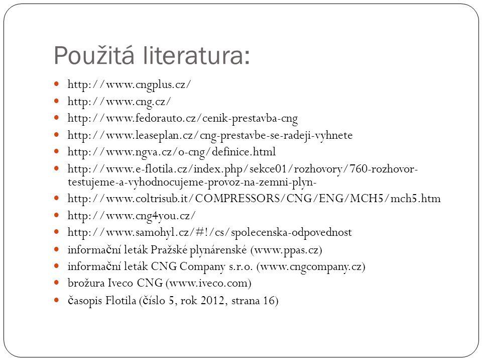 Použitá literatura: http://www.cngplus.cz/ http://www.cng.cz/