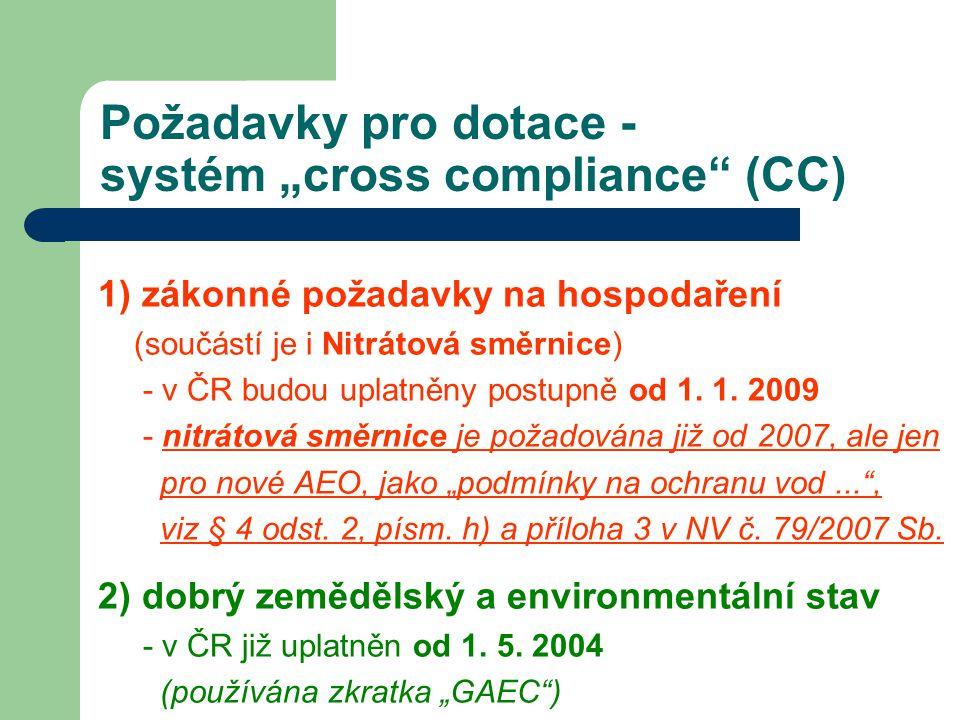 """Požadavky pro dotace - systém """"cross compliance (CC)"""