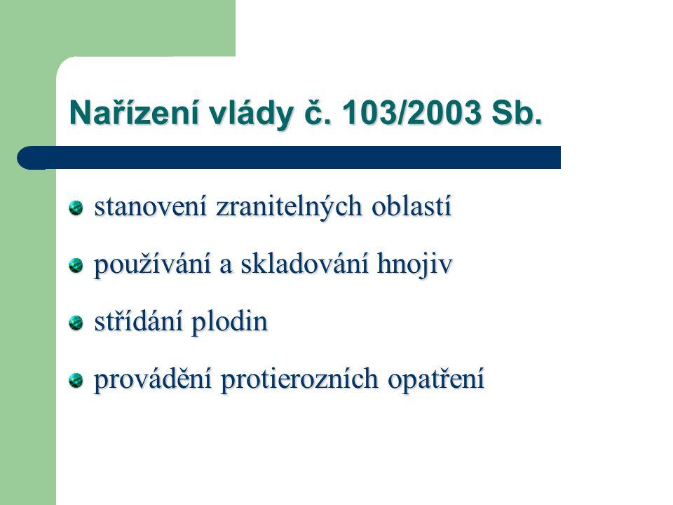 Nařízení vlády č. 103/2003 Sb. stanovení zranitelných oblastí