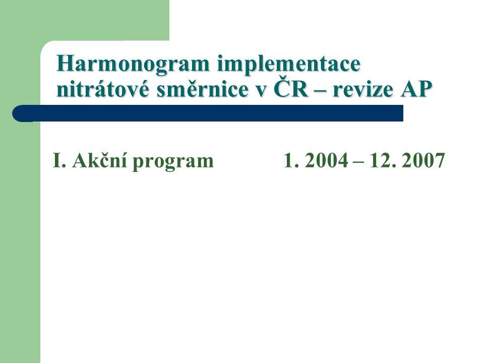 Harmonogram implementace nitrátové směrnice v ČR – revize AP