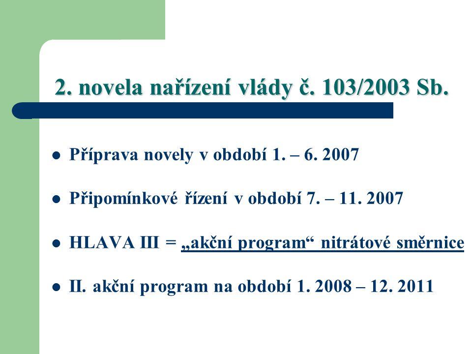 2. novela nařízení vlády č. 103/2003 Sb.
