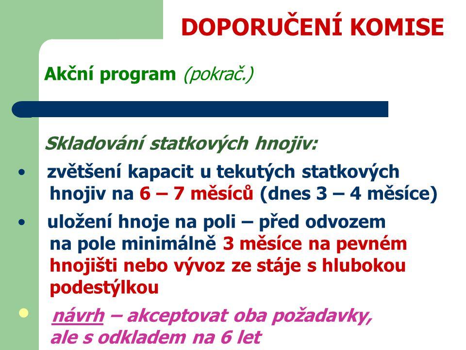 DOPORUČENÍ KOMISE Akční program (pokrač.)