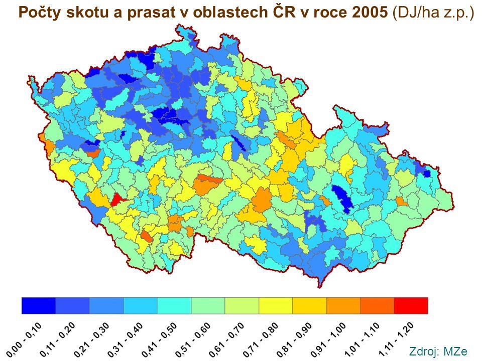 Počty skotu a prasat v oblastech ČR v roce 2005 (DJ/ha z.p.)