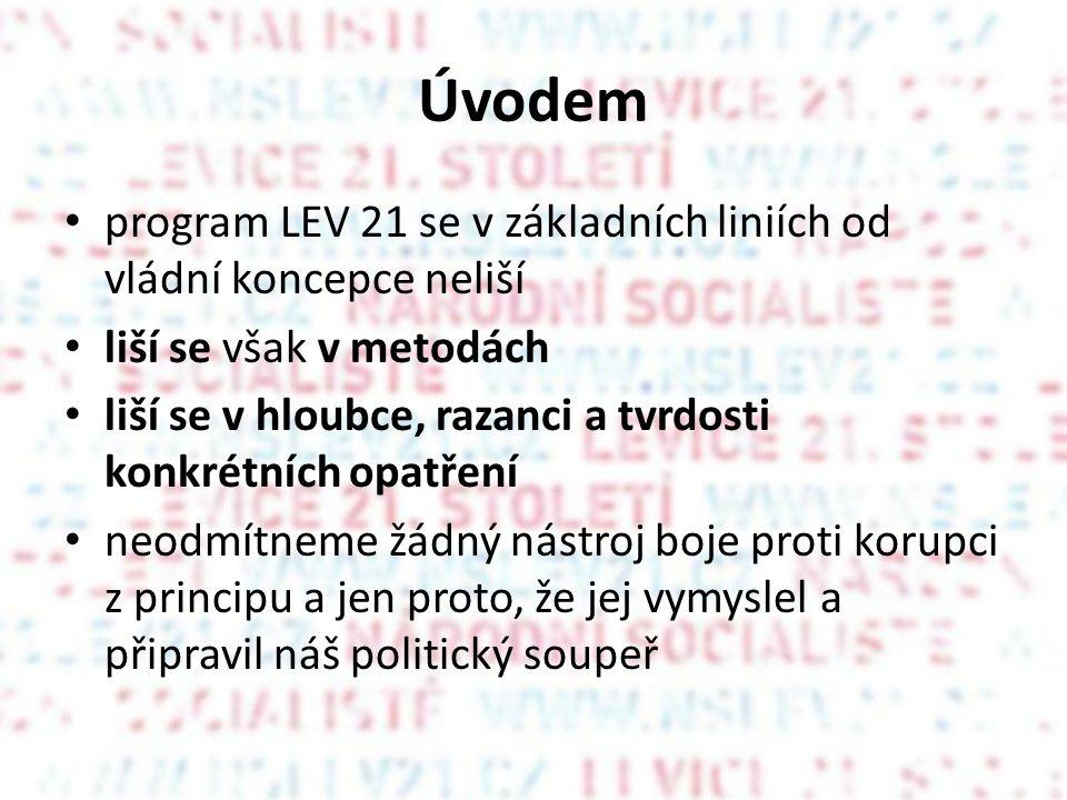 Úvodem program LEV 21 se v základních liniích od vládní koncepce neliší. liší se však v metodách.