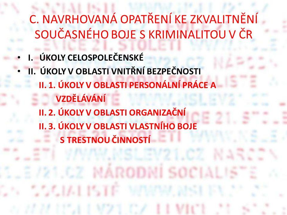 C. NAVRHOVANÁ OPATŘENÍ KE ZKVALITNĚNÍ SOUČASNÉHO BOJE S KRIMINALITOU V ČR