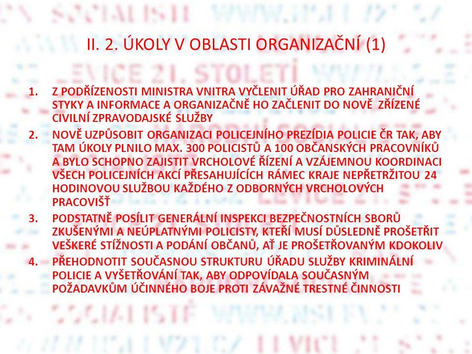 II. 2. ÚKOLY V OBLASTI ORGANIZAČNÍ (1)
