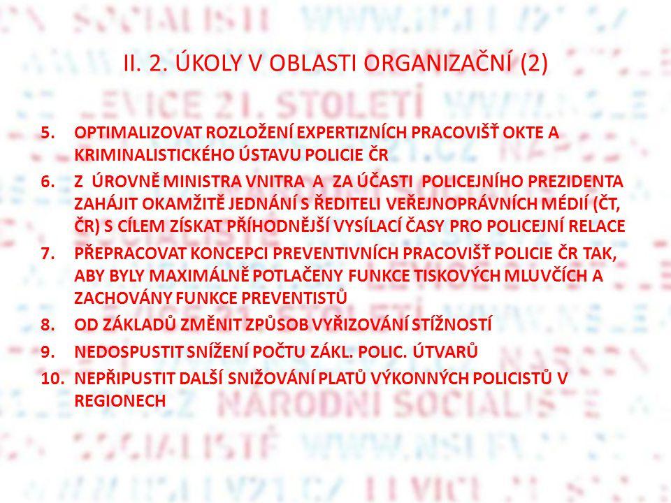 II. 2. ÚKOLY V OBLASTI ORGANIZAČNÍ (2)