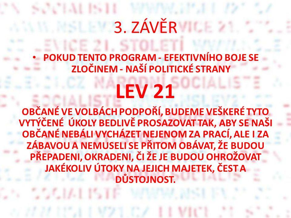 3. ZÁVĚR POKUD TENTO PROGRAM - EFEKTIVNÍHO BOJE SE ZLOČINEM - NAŠÍ POLITICKÉ STRANY. LEV 21.