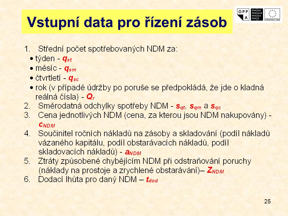 Vstupní data pro řízení zásob