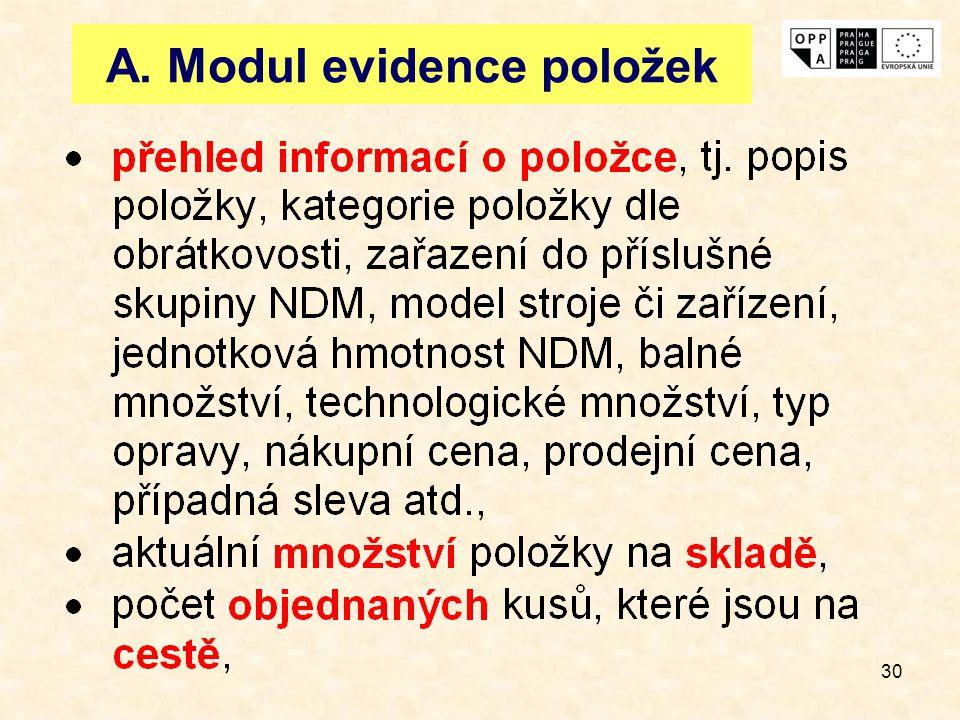 A. Modul evidence položek