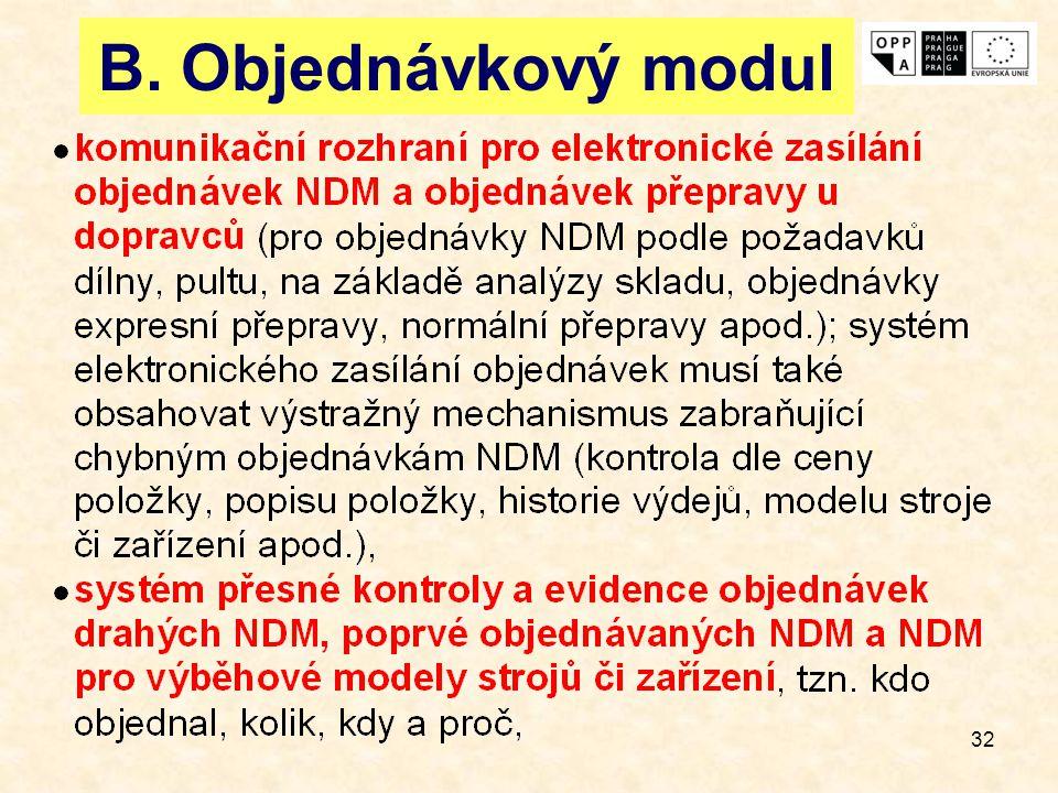 B. Objednávkový modul