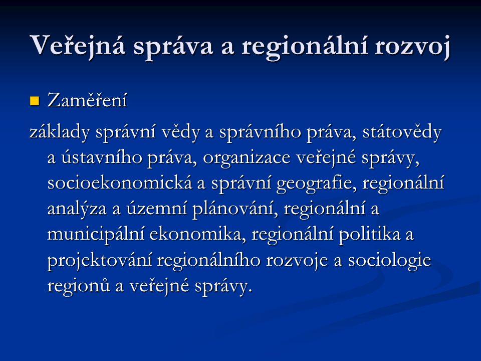 Veřejná správa a regionální rozvoj