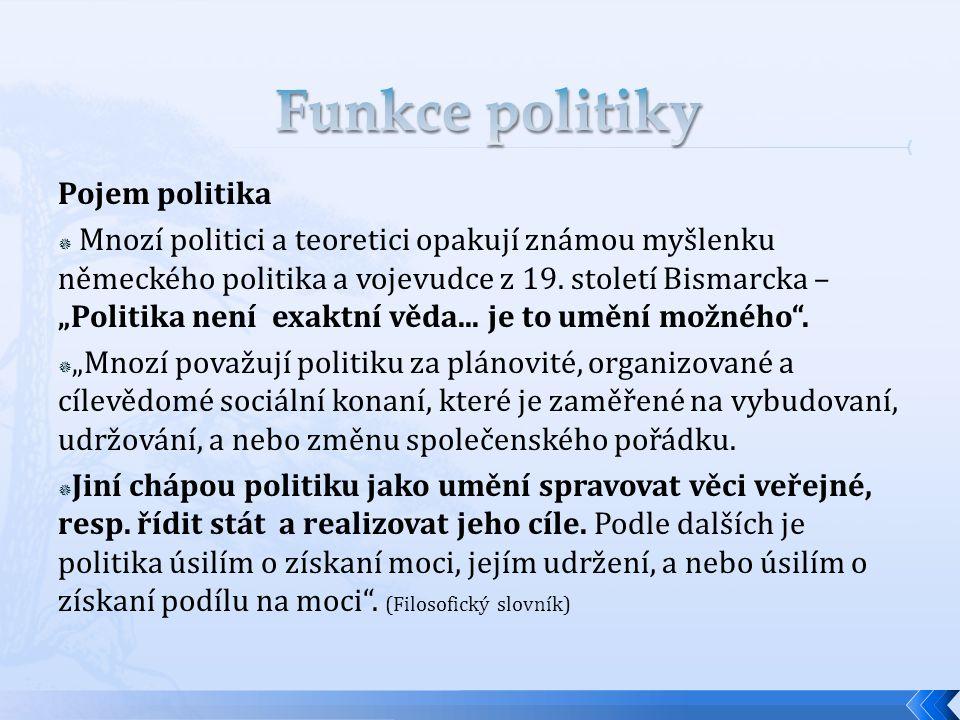 Funkce politiky Pojem politika