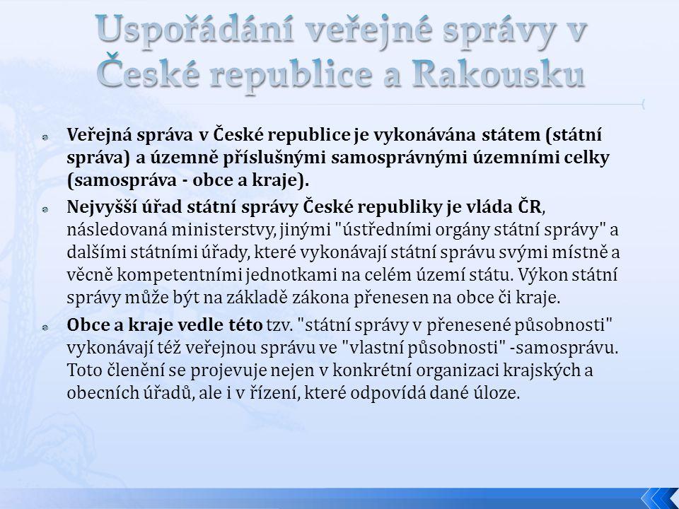 Uspořádání veřejné správy v České republice a Rakousku