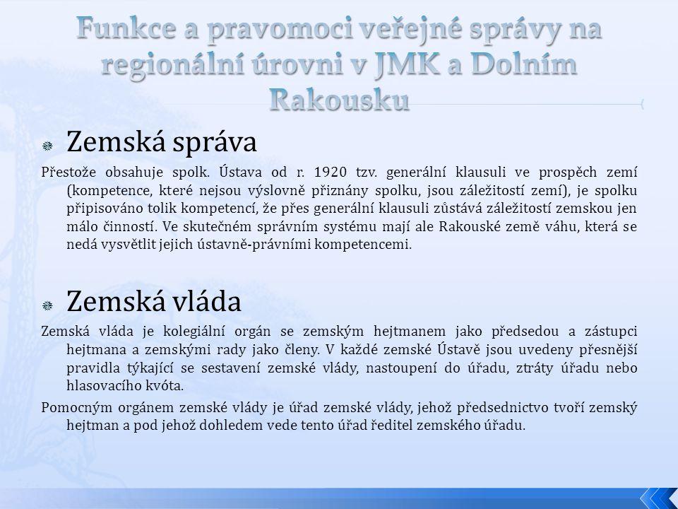 Funkce a pravomoci veřejné správy na regionální úrovni v JMK a Dolním Rakousku
