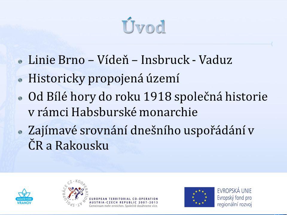 Úvod Linie Brno – Vídeň – Insbruck - Vaduz Historicky propojená území
