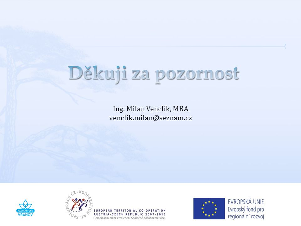 Děkuji za pozornost Ing. Milan Venclík, MBA venclik.milan@seznam.cz