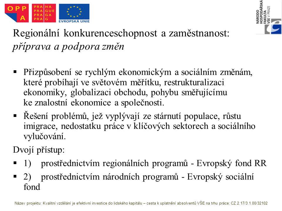 Regionální konkurenceschopnost a zaměstnanost: příprava a podpora změn