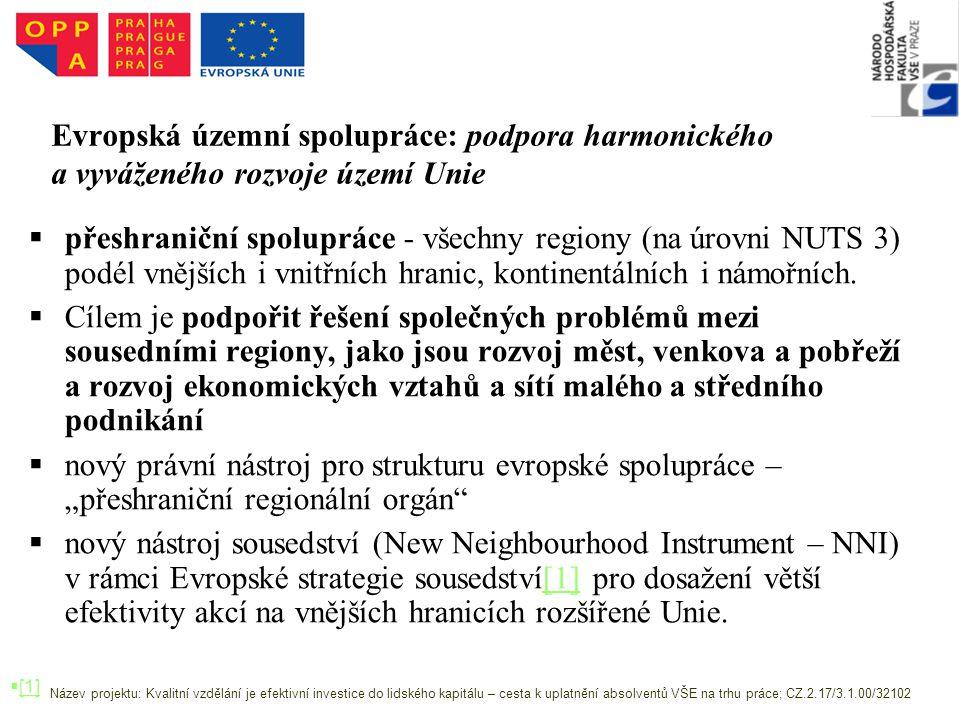 Evropská územní spolupráce: podpora harmonického a vyváženého rozvoje území Unie