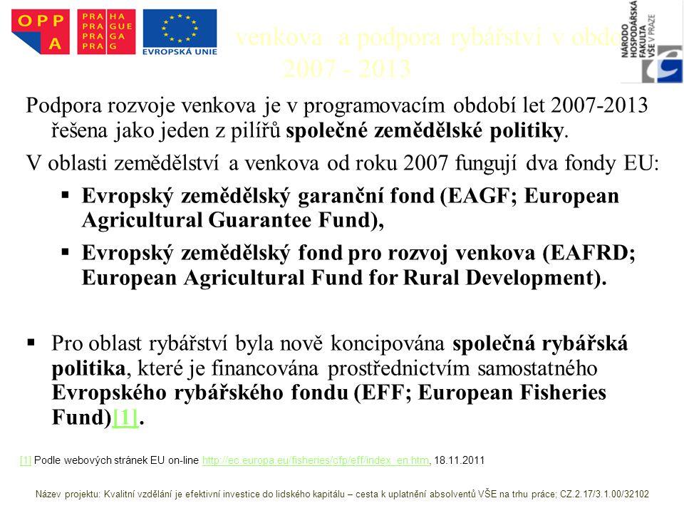 Podpora rozvoje venkova a podpora rybářství v období 2007 - 2013