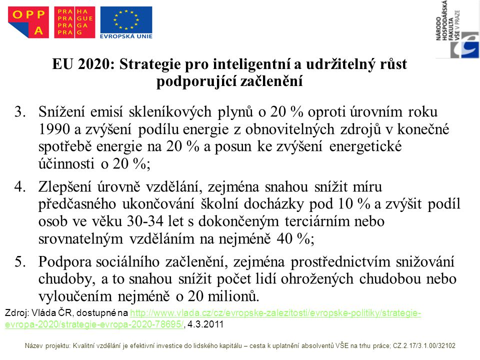 EU 2020: Strategie pro inteligentní a udržitelný růst podporující začlenění