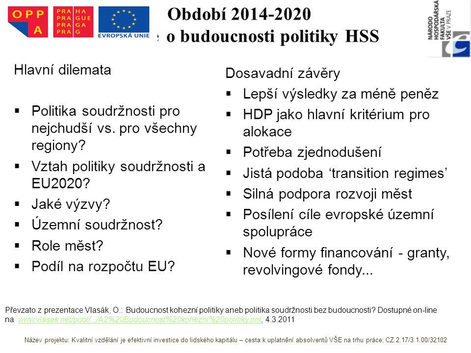 Období 2014-2020 Diskuze o budoucnosti politiky HSS