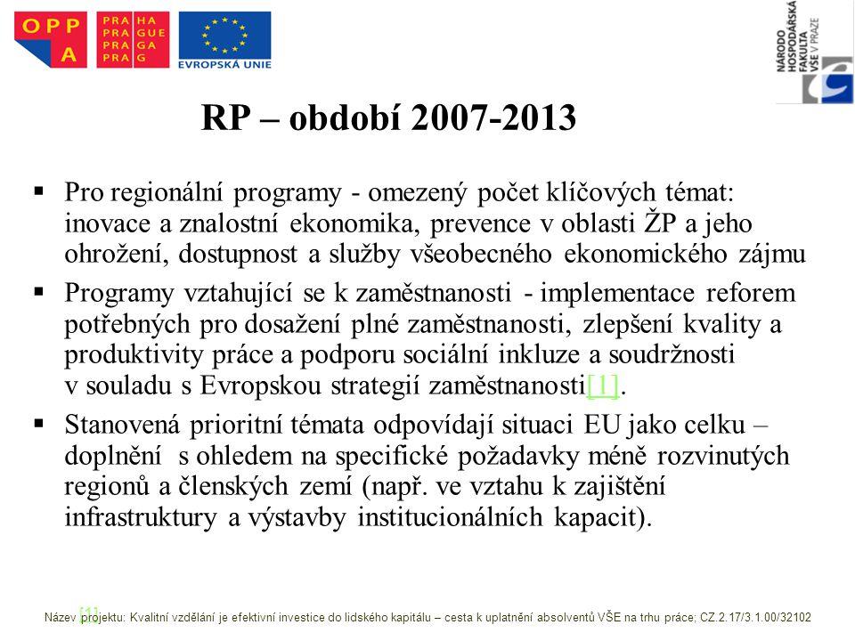RP – období 2007-2013