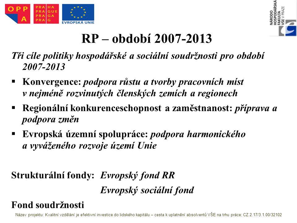 RP – období 2007-2013 Tři cíle politiky hospodářské a sociální soudržnosti pro období 2007-2013.