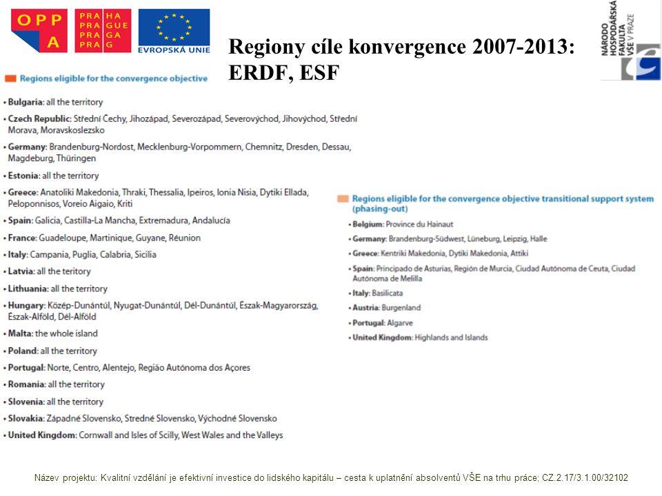 Regiony cíle konvergence 2007-2013: ERDF, ESF