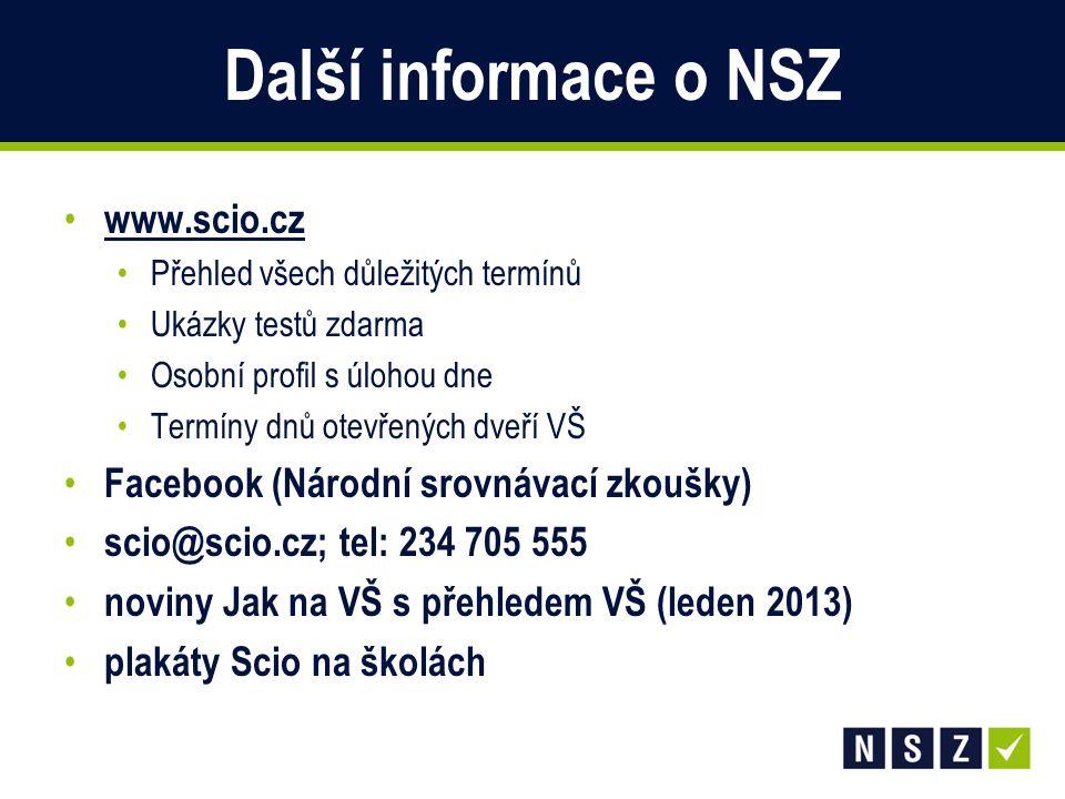 Další informace o NSZ www.scio.cz