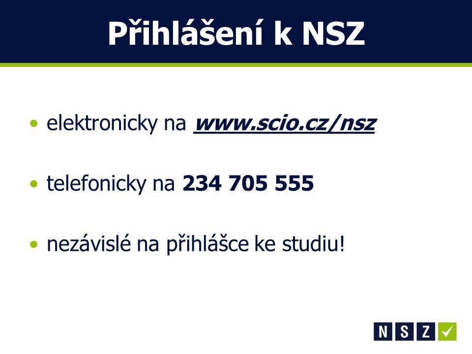 Přihlášení k NSZ elektronicky na www.scio.cz/nsz