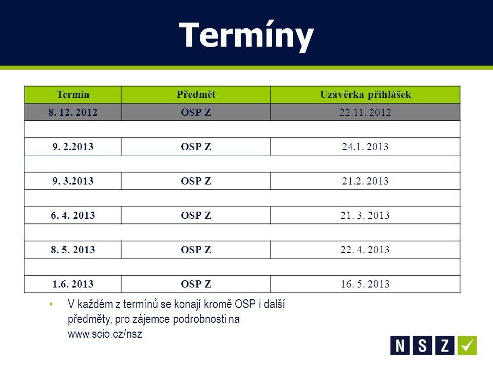 Termíny Termín. Předmět. Uzávěrka přihlášek. 8. 12. 2012. OSP Z. 22.11. 2012. 9. 2.2013. 24.1. 2013.