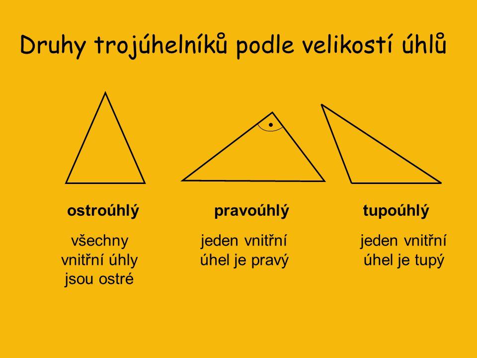 Druhy trojúhelníků podle velikostí úhlů