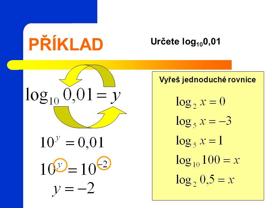 PŘÍKLAD Určete log100,01 Vyřeš jednoduché rovnice