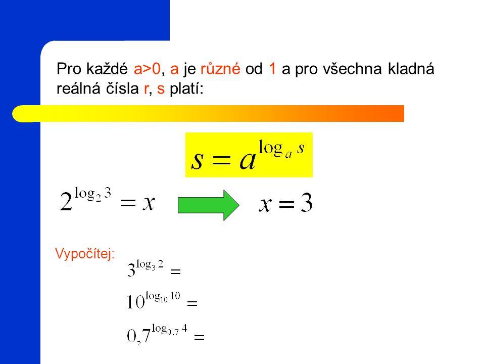 Pro každé a>0, a je různé od 1 a pro všechna kladná reálná čísla r, s platí: