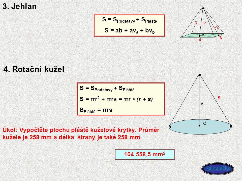 3. Jehlan 4. Rotační kužel S = SPodstavy + SPláště S = ab + ava + bvb