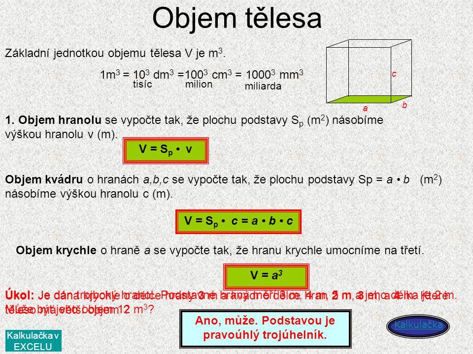 Objem tělesa Základní jednotkou objemu tělesa V je m3.