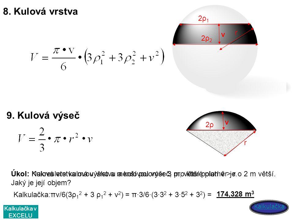 8. Kulová vrstva 9. Kulová výseč 2ρ1 v r 2ρ2 v 2ρ r