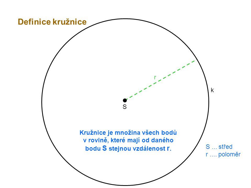 Definice kružnice r. k. S. Kružnice je množina všech bodů v rovině, které mají od daného bodu S stejnou vzdálenost r.