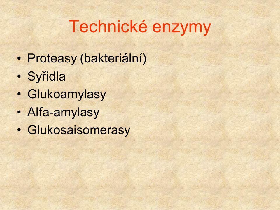 Technické enzymy Proteasy (bakteriální) Syřidla Glukoamylasy