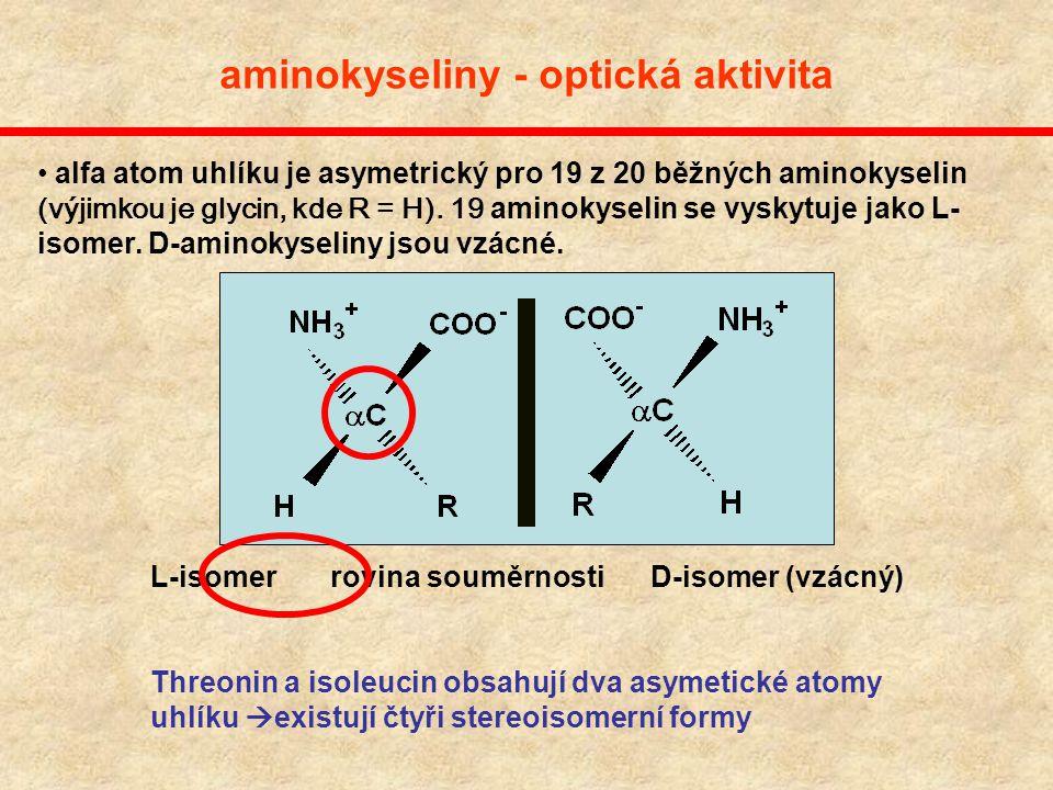 aminokyseliny - optická aktivita
