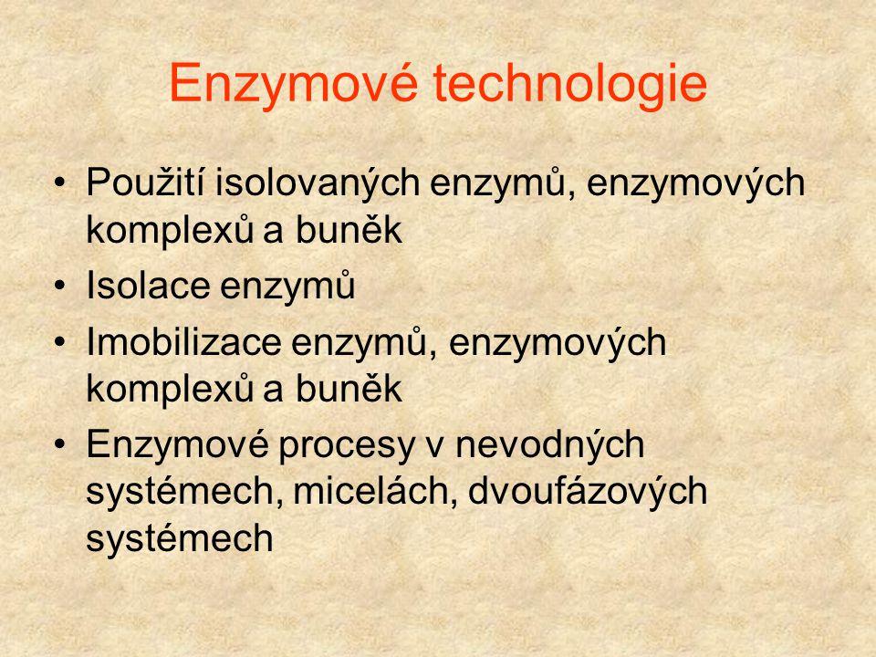 Enzymové technologie Použití isolovaných enzymů, enzymových komplexů a buněk. Isolace enzymů. Imobilizace enzymů, enzymových komplexů a buněk.