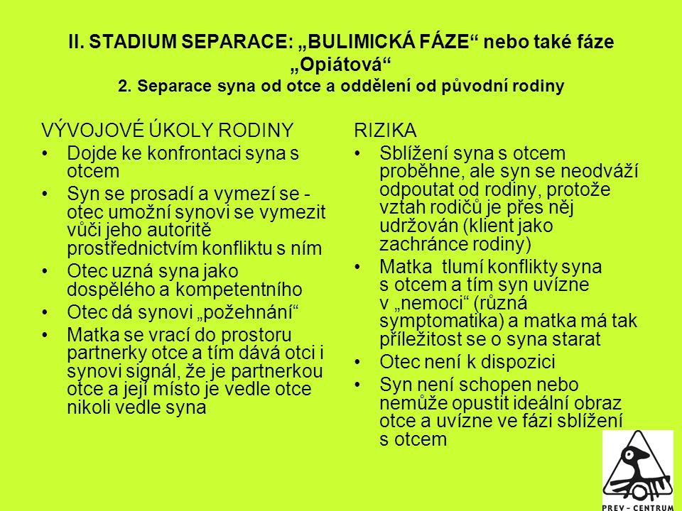"""II. STADIUM SEPARACE: """"BULIMICKÁ FÁZE nebo také fáze """"Opiátová 2"""