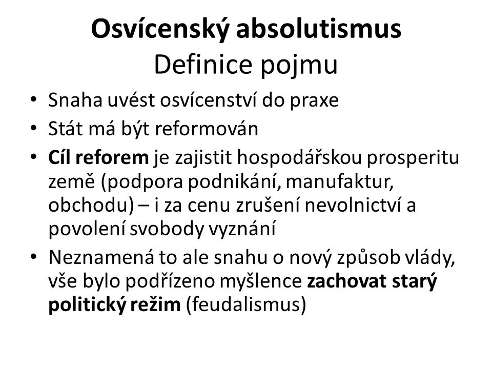 Osvícenský absolutismus Definice pojmu
