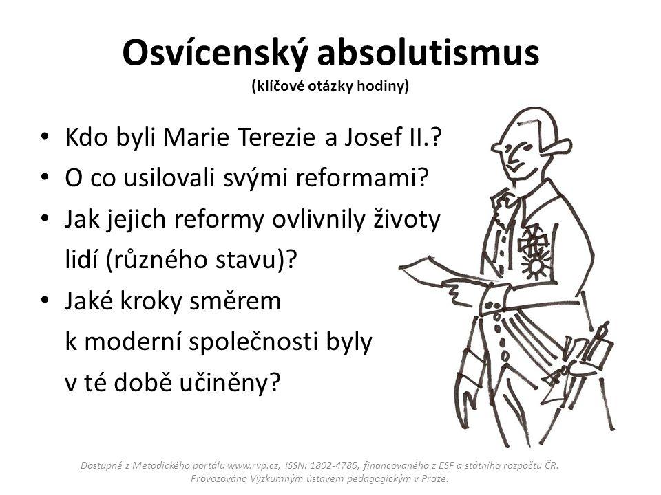 Osvícenský absolutismus (klíčové otázky hodiny)