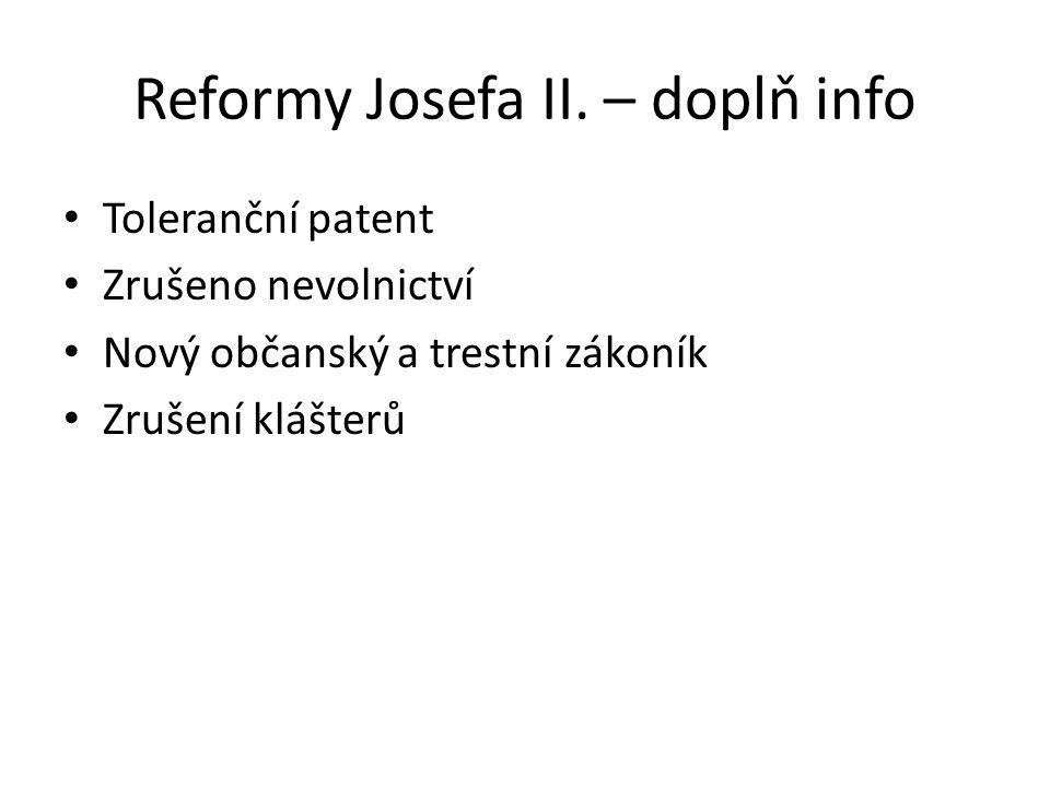 Reformy Josefa II. – doplň info
