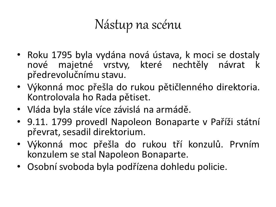 Nástup na scénu Roku 1795 byla vydána nová ústava, k moci se dostaly nové majetné vrstvy, které nechtěly návrat k předrevolučnímu stavu.