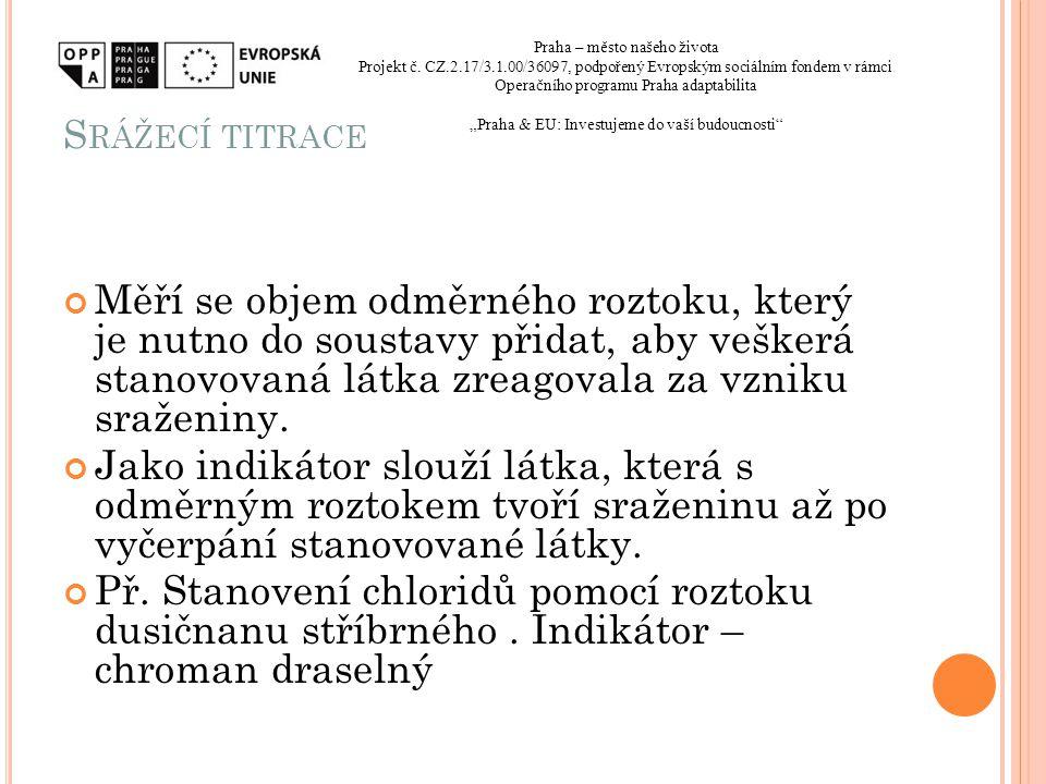 Srážecí titrace Praha – město našeho života. Projekt č. CZ.2.17/3.1.00/36097, podpořený Evropským sociálním fondem v rámci.