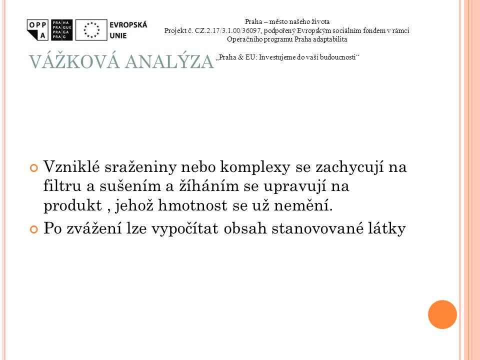 VÁŽKOVÁ ANALÝZA Praha – město našeho života. Projekt č. CZ.2.17/3.1.00/36097, podpořený Evropským sociálním fondem v rámci.