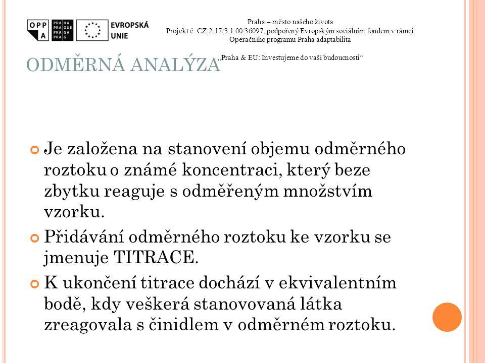 ODMĚRNÁ ANALÝZA Praha – město našeho života. Projekt č. CZ.2.17/3.1.00/36097, podpořený Evropským sociálním fondem v rámci.